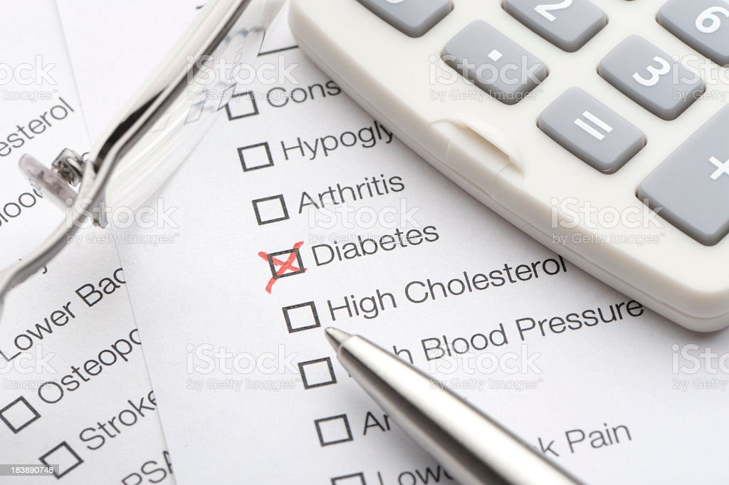 Diabetes checked on a medical test royalty-free stock photo