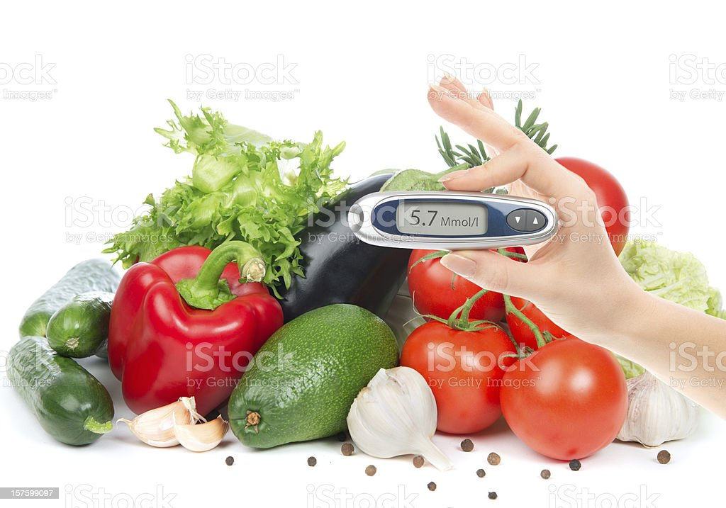 Diabetes concept glucometer for glucose level blood test royalty-free stock photo