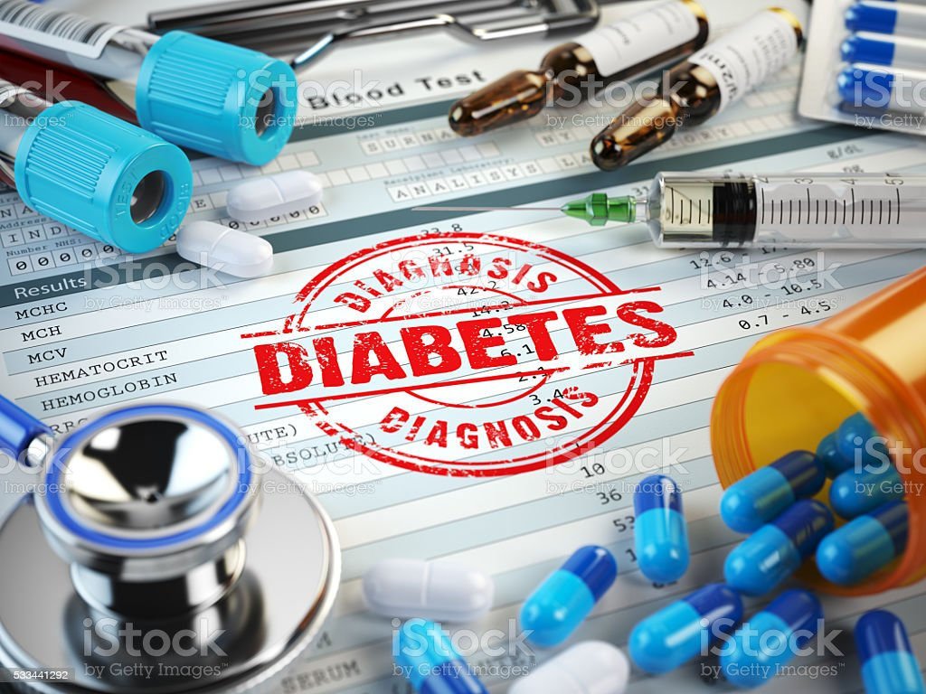Diabetes diagnosis. Stamp, stethoscope, syringe, blood test and stock photo
