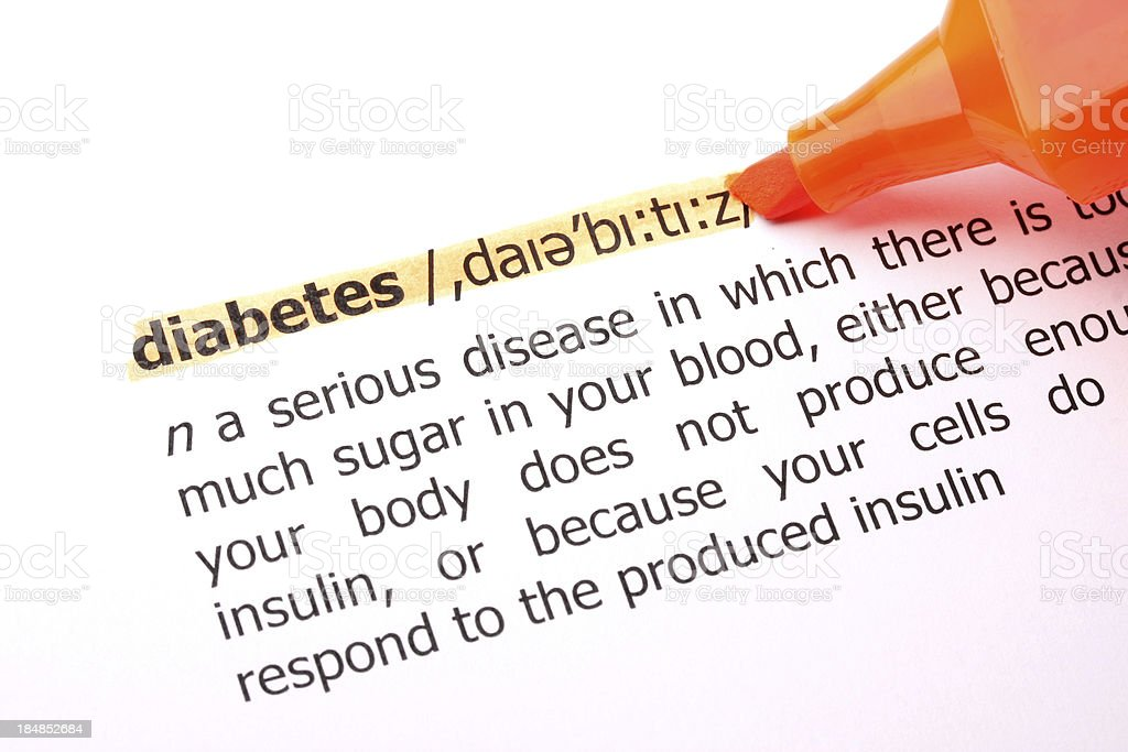 Diabetes Highlited Word Definition stock photo