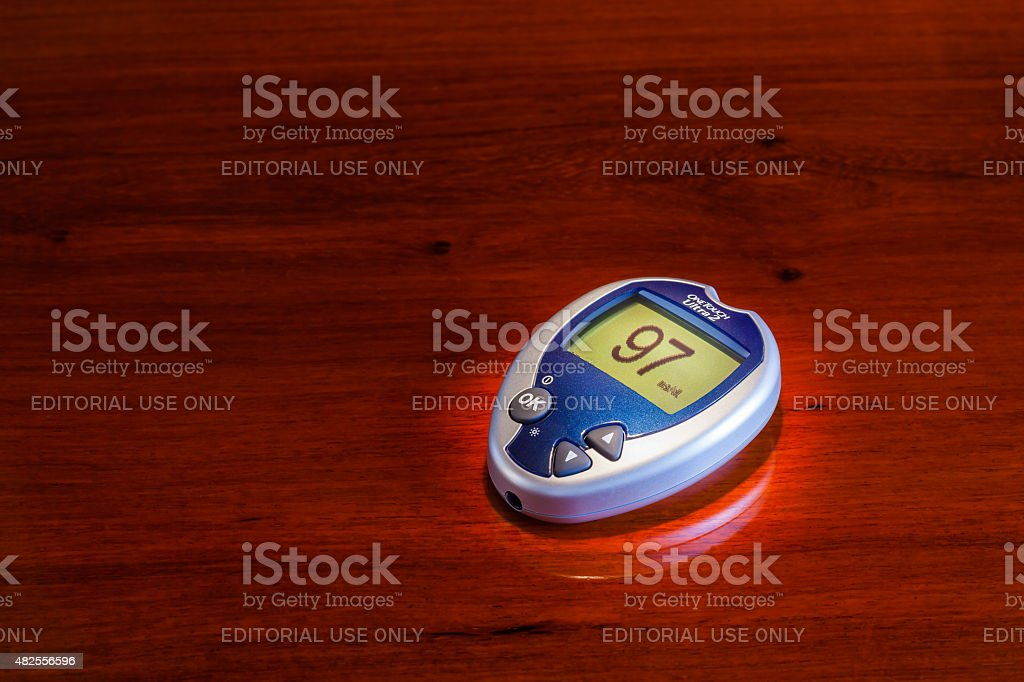 Diabetes Mellitus - Glucose meter manufactured by Johnson and Johnson stock photo