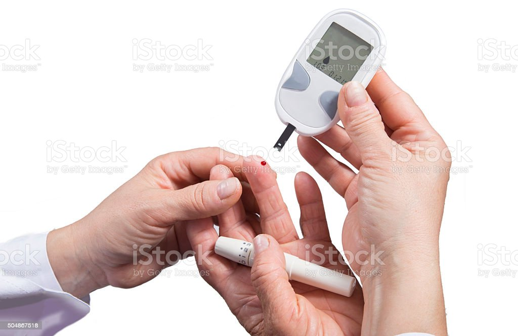 Diabetes patient finger to make glucose level blood royalty-free stock photo