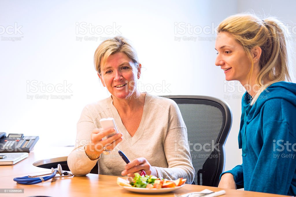 Diabetes risk factors pointed out by a doctor stock photo