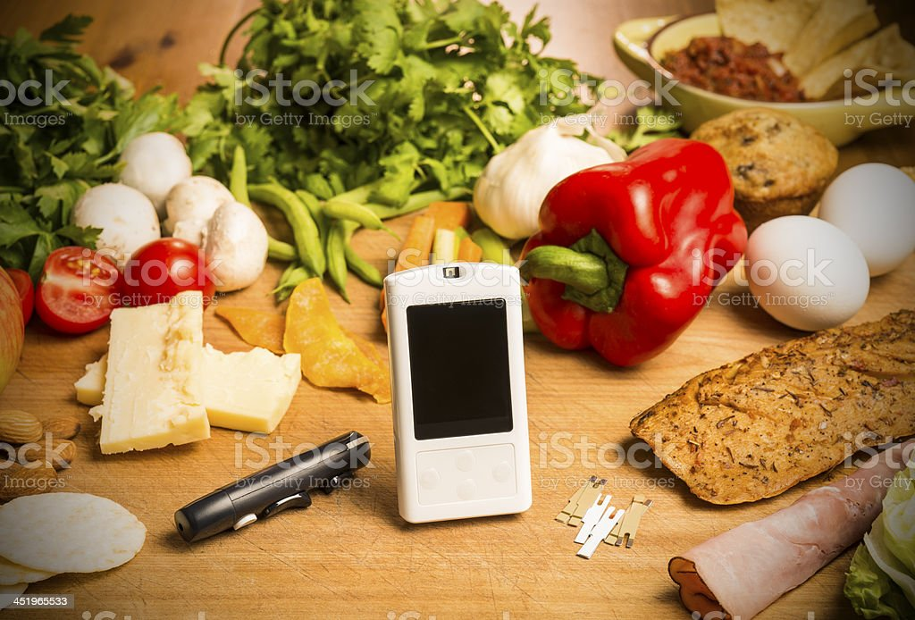 Diabetes still-life with healthy food choices royalty-free stock photo