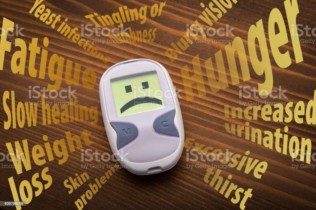 Diabetes symptoms stock photo