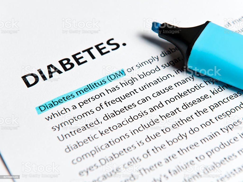 Diabetes text with felt tip pen (Click for more) stock photo