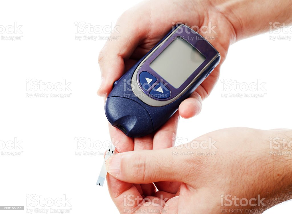 Diabetic blood test stock photo