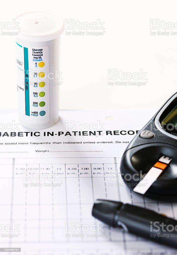 Diabetic daily diagnostic equipment stock photo