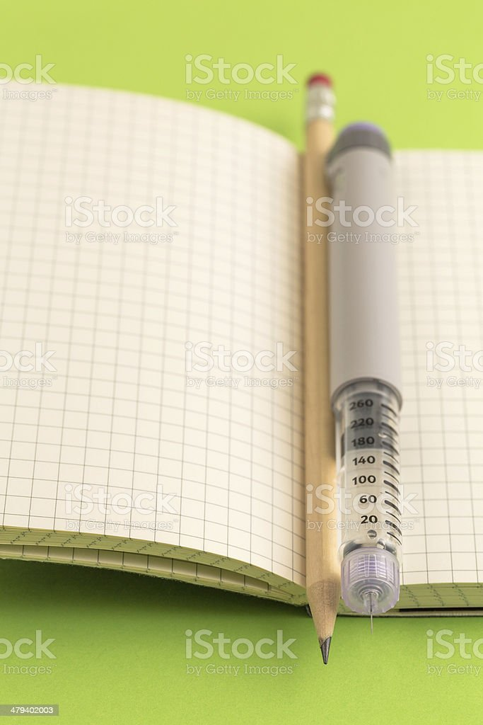 Diabetic Diary stock photo