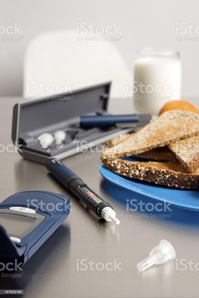 Diabetic equipment and a suitable breakfast. stock photo
