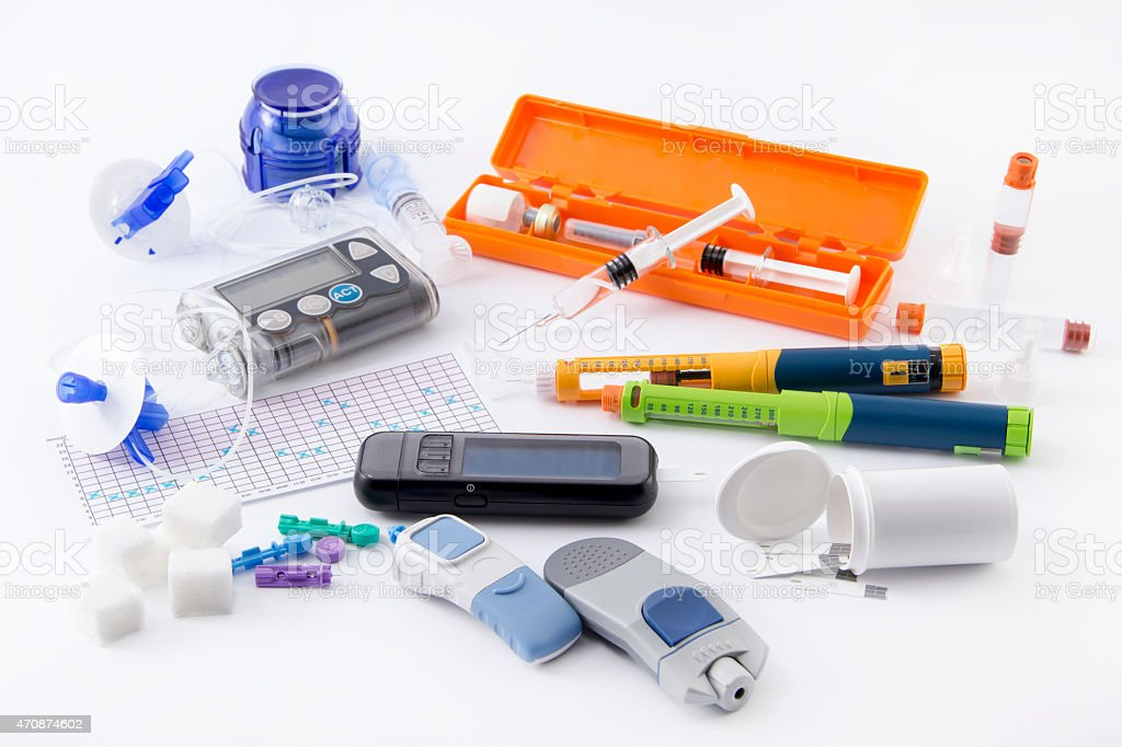Diabetic items set (all you need to control diabetes) stock photo