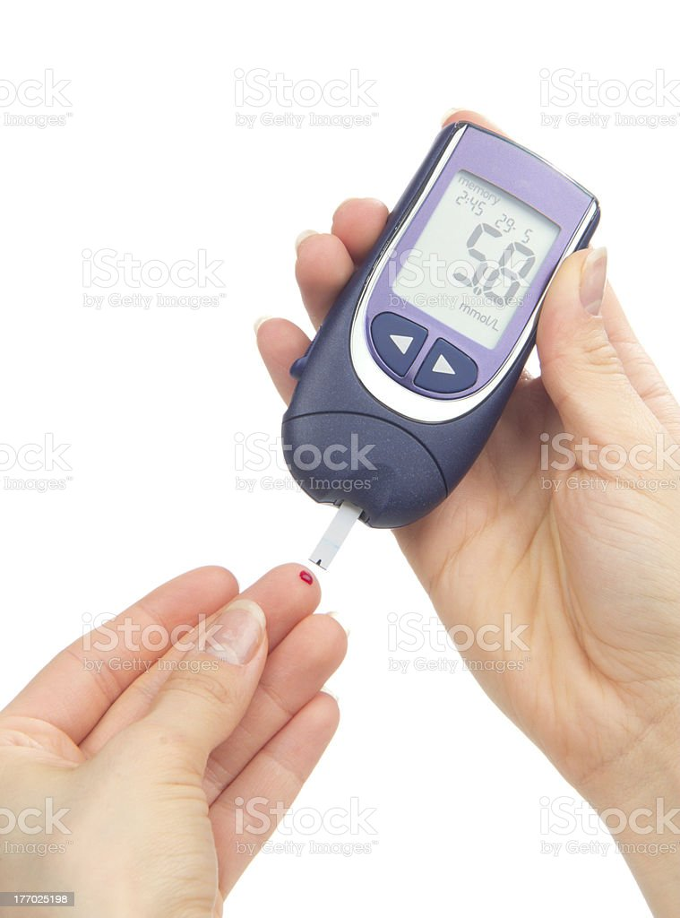 Diabetic patient measuring glucose level blood test royalty-free stock photo