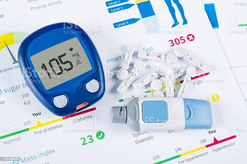 Diabetic test kit on medical background stock photo
