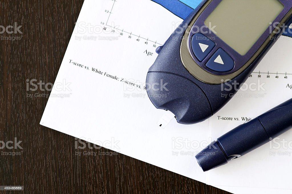 Diabetic test kit stock photo