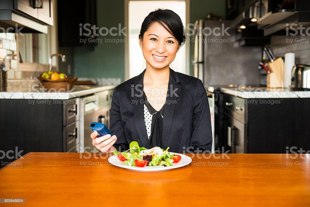 Diabetic woman enjoying a healthy salad stock photo