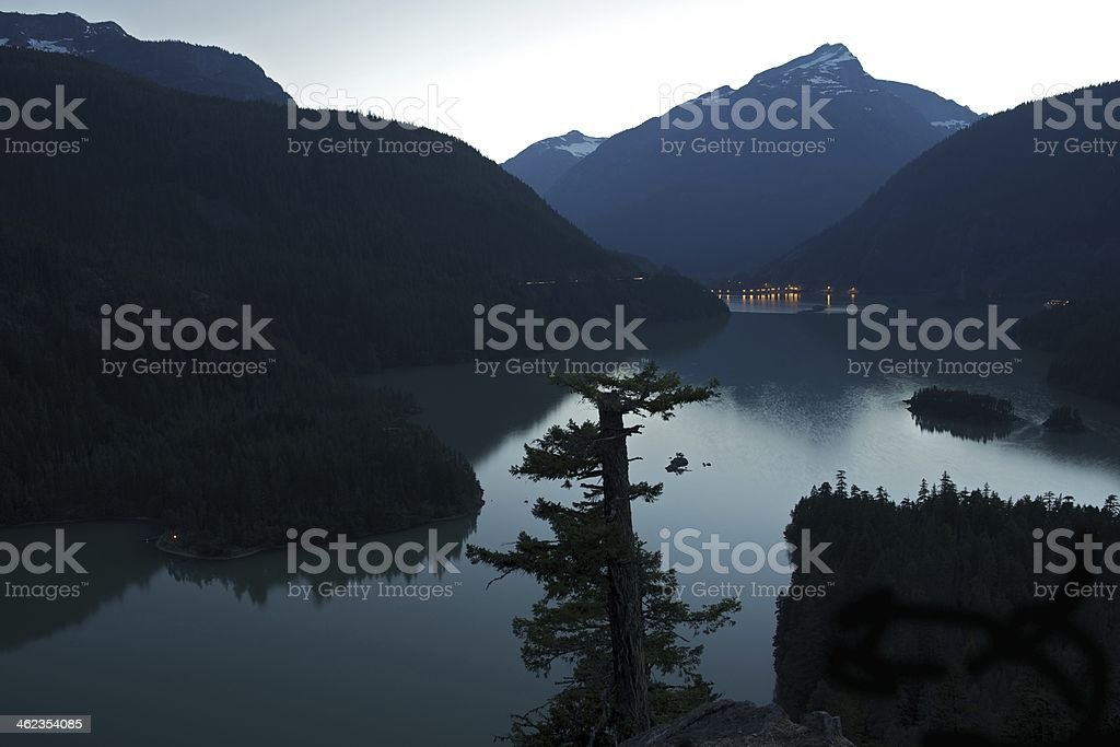 Diablo Lake at Dusk stock photo
