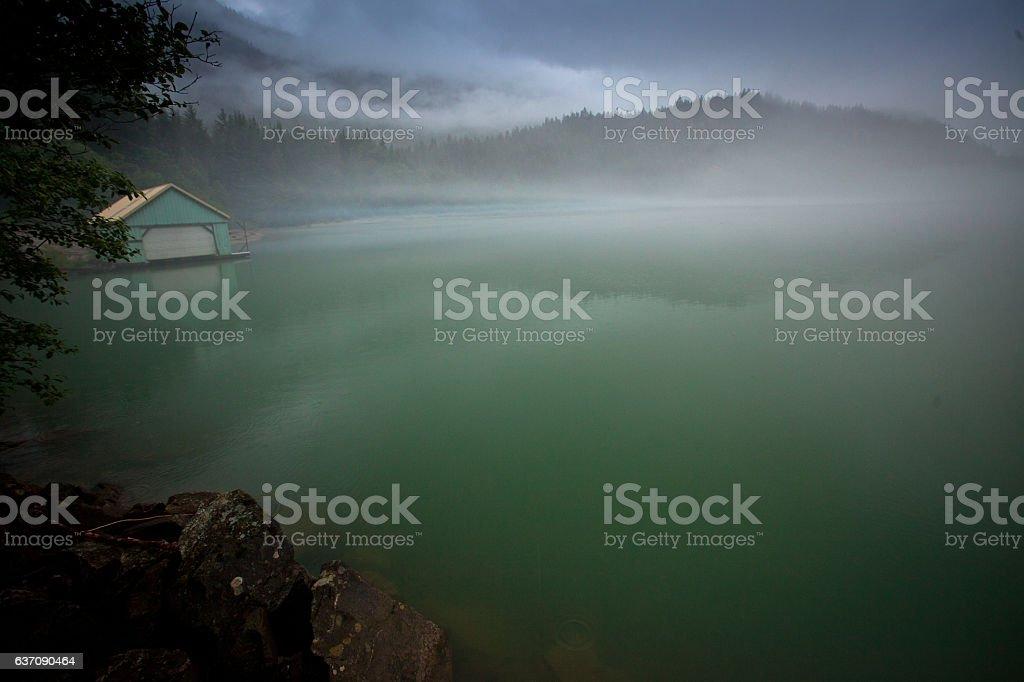 Diablo Lake boathouse stock photo