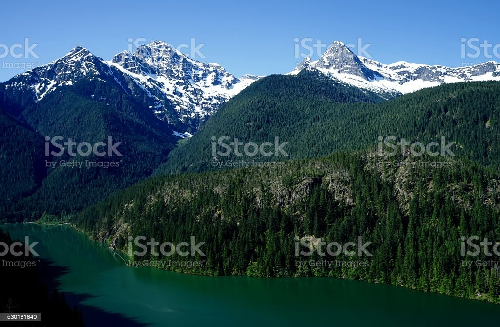Diablo Lake Peaks stock photo
