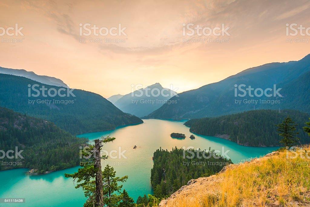 Diablo lake when sunset in North Cascade,usa. stock photo