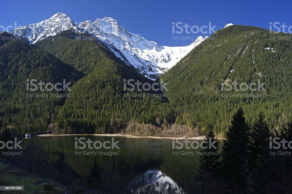 Diablo Lake's Icy Peaks stock photo