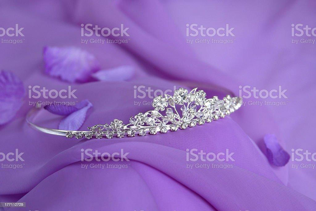 diadem on a lilac background b stock photo