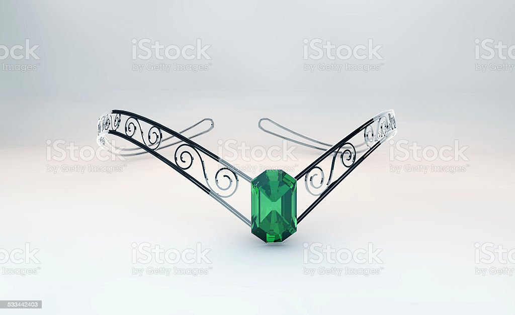 Diadem with emerald stock photo