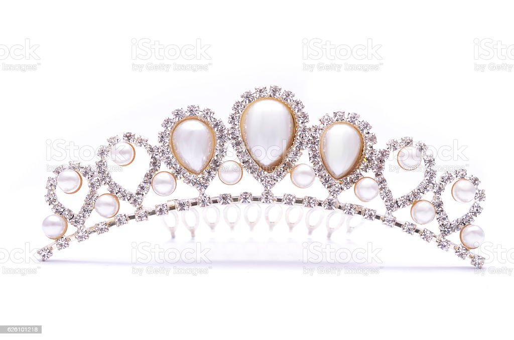 diadem with pearls isolated on white stock photo