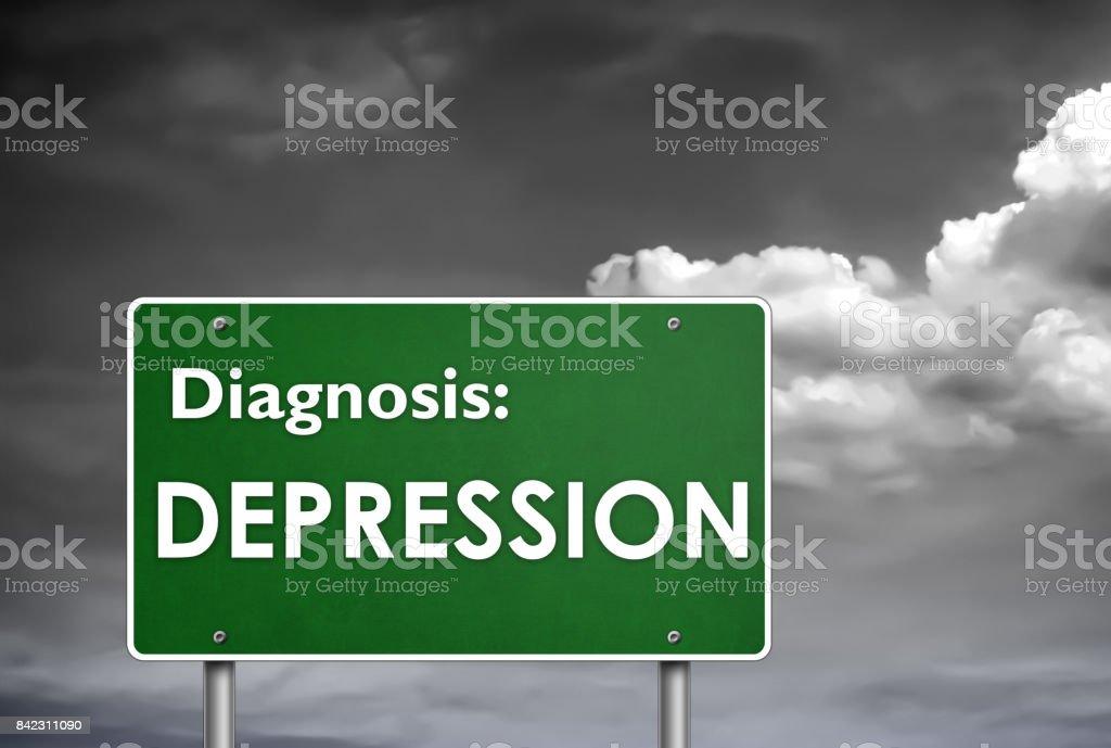 Diagnosis Depression stock photo