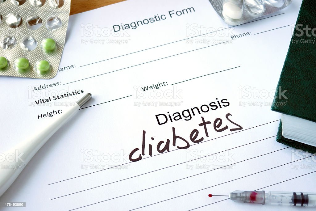 Diagnosis diabetes  and pills. stock photo