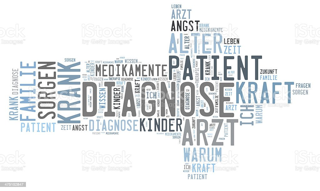 Diagnosis word cloud stock photo