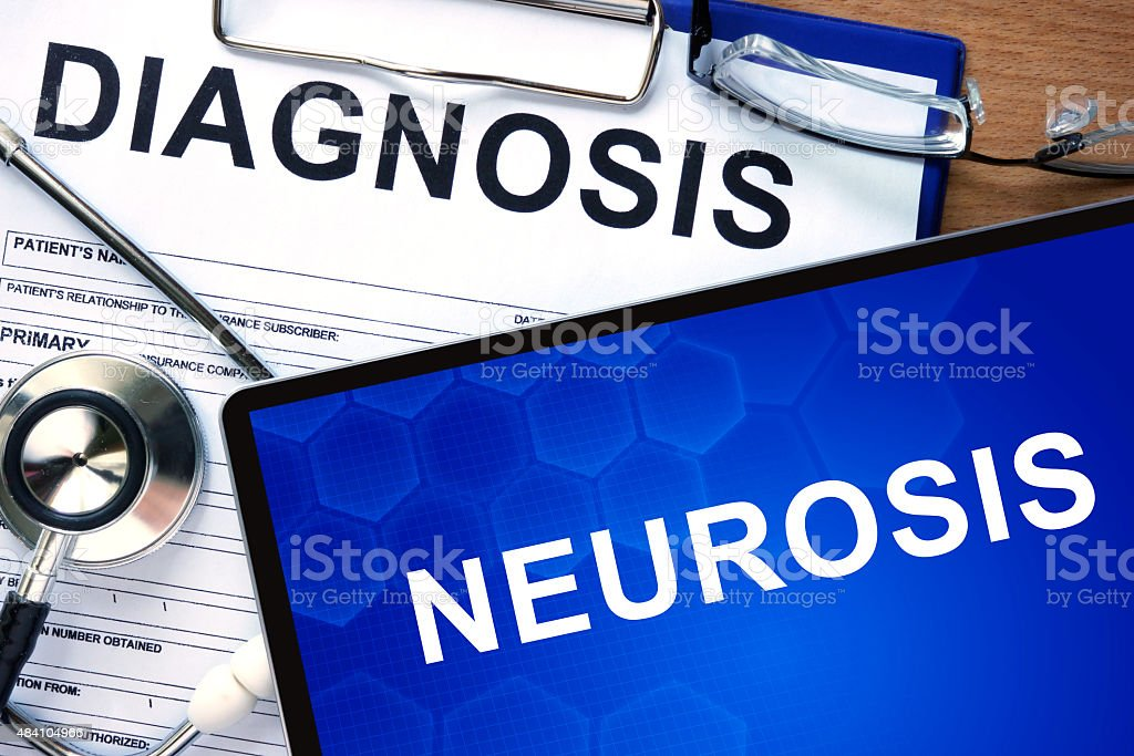Diagnostic form with diagnosis Neurosis and pills. stock photo