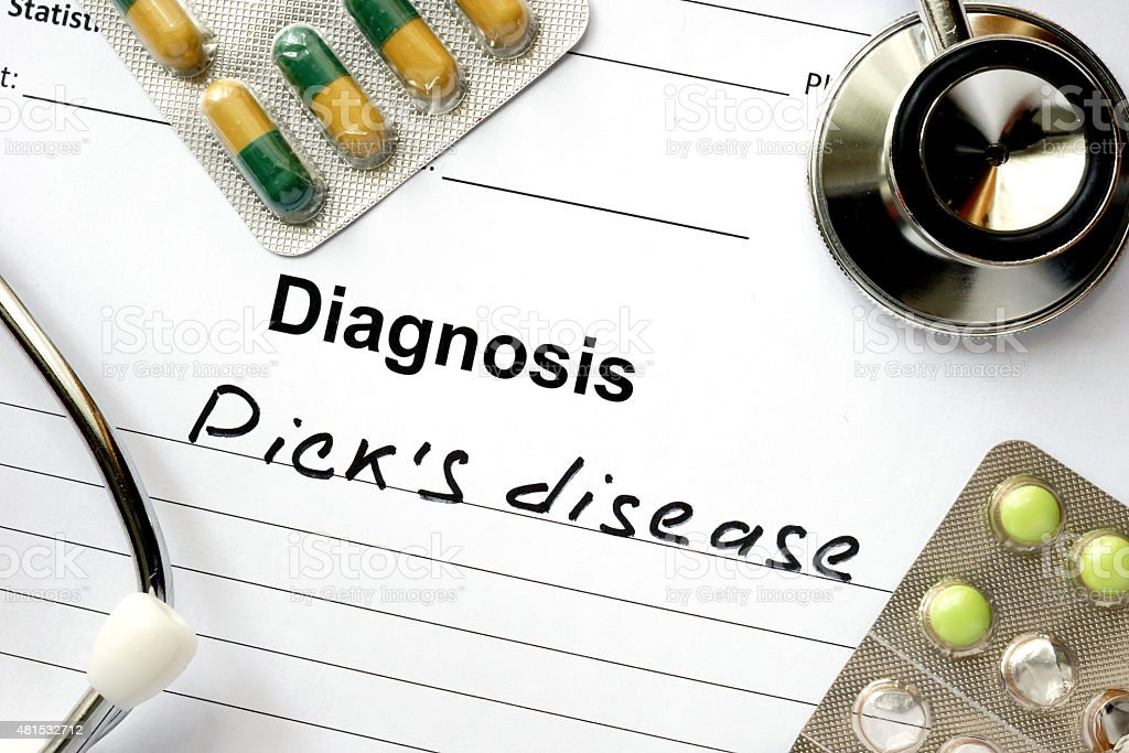 Diagnostic form with diagnosis Picks disease and pills. stock photo
