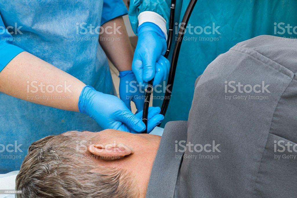 Diagnostics in the endoscopy room. stock photo