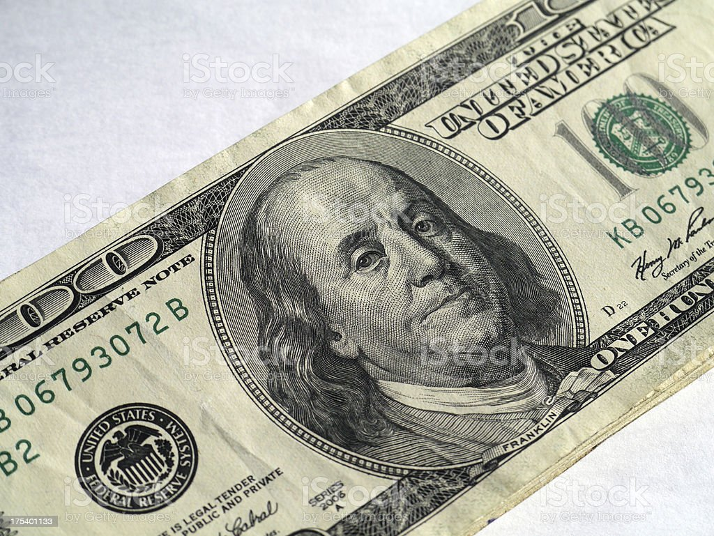Diagonal Benjamins stock photo