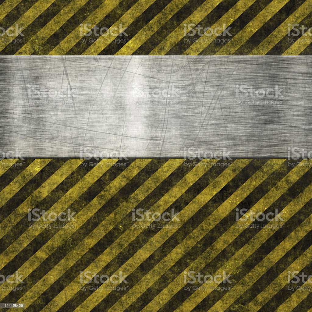 Diagonal black and yellow striped lines with scratched metal royalty-free stock photo