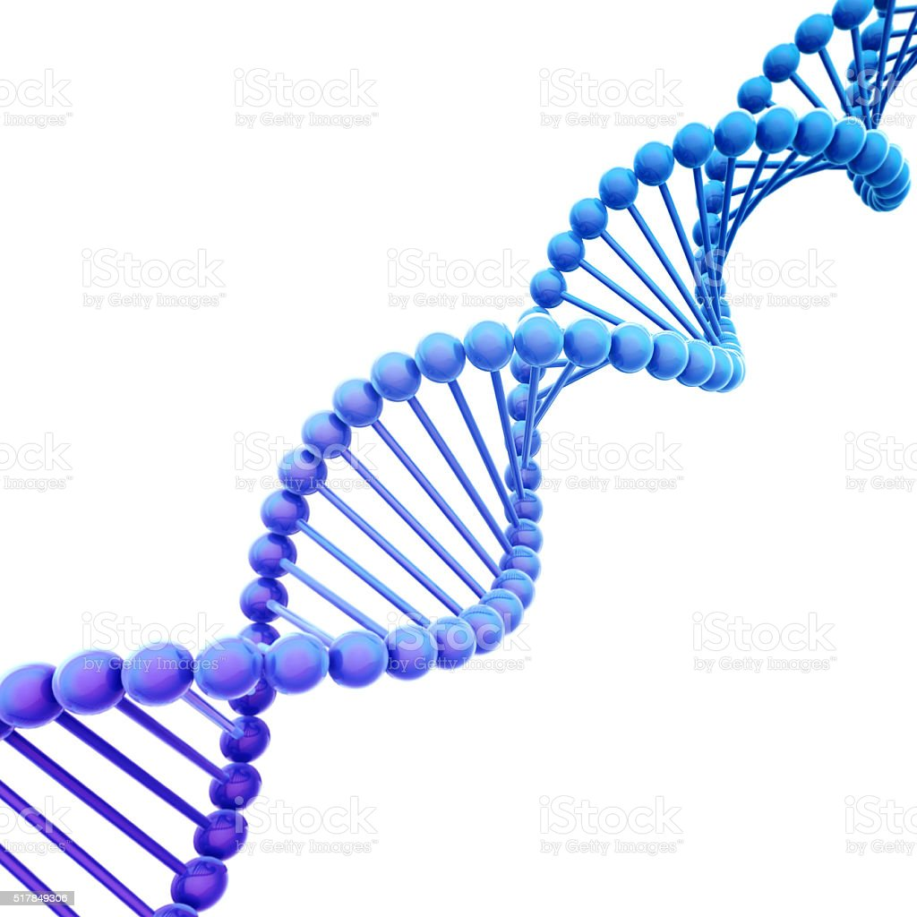 Diagonal Blue DNA Helix on White stock photo