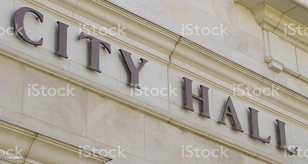 Diagonal City Hall Sign stock photo