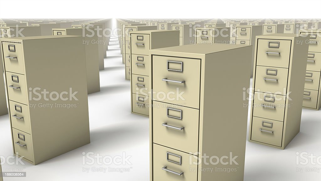 Diagonal close up view of endless File Cabinets (Beige) royalty-free stock photo