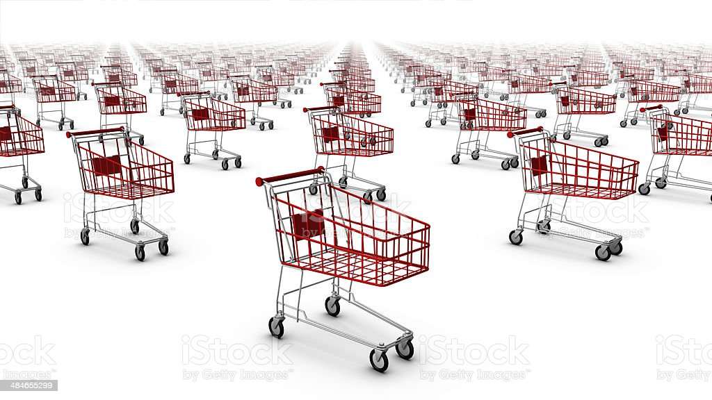 Diagonal high angle view of shopping carts royalty-free stock photo