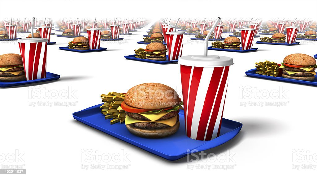 Diagonal low angle view of fast food royalty-free stock photo