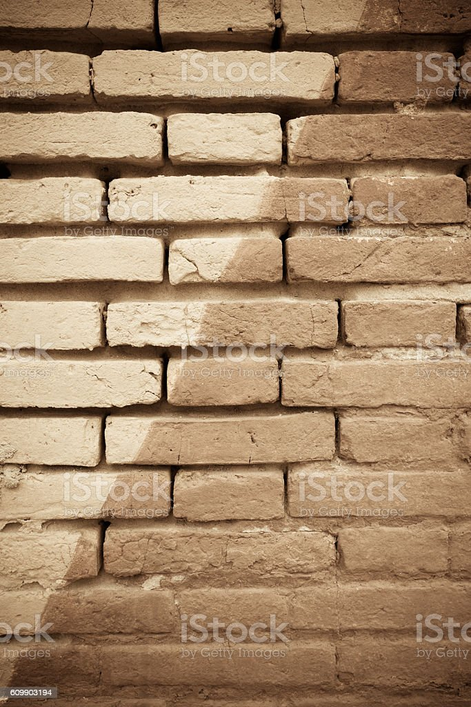 diagonal painted old brick wall background. stock photo