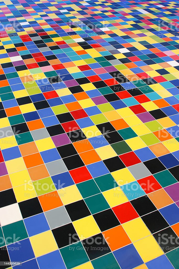 diagonal perspective of colorful mosaic tiles pattern on a wall royalty-free stock photo