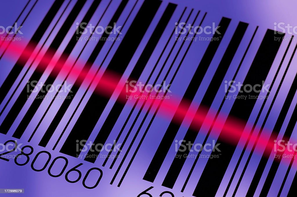 Diagonal photo of a barcode being read by the reader stock photo