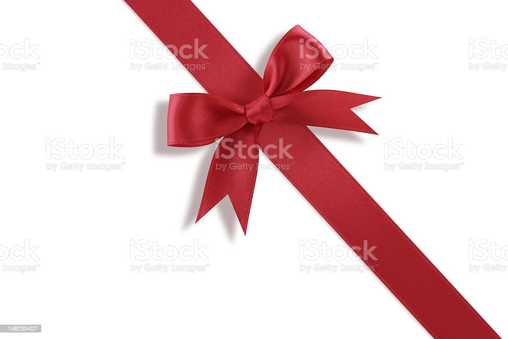 Diagonal red gift bow royalty-free stock photo