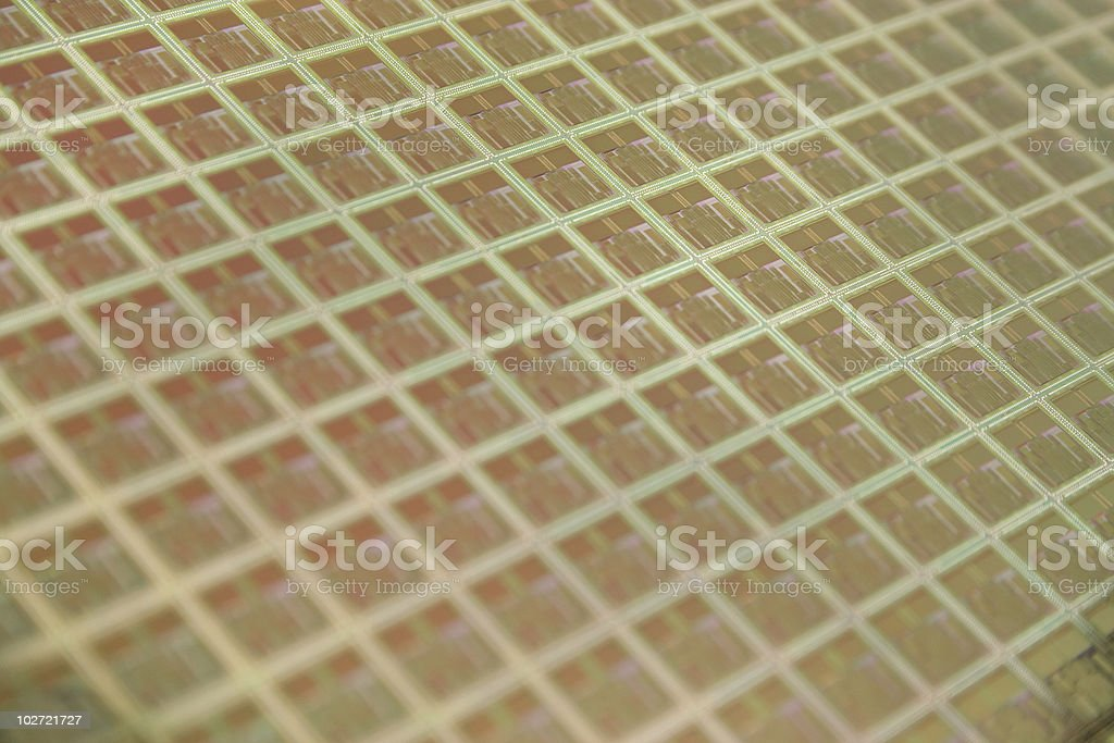 Diagonal seen grid on a wafer stock photo