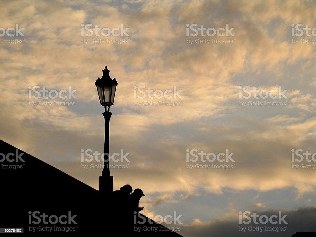 diagonal sunset in Prague royalty-free stock photo
