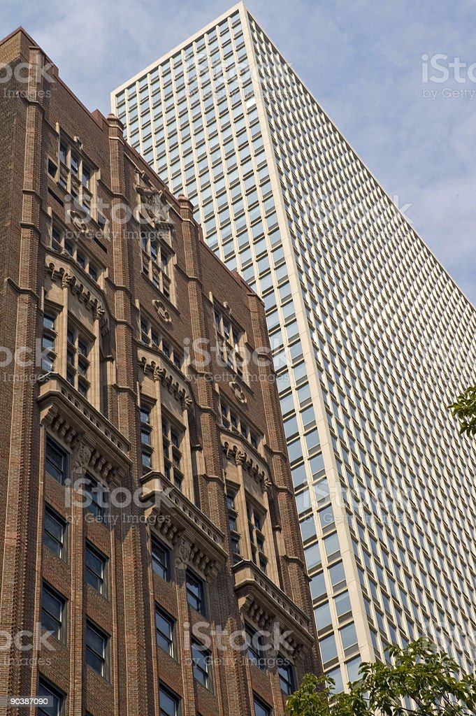Diagonal view of Chicago highrises stock photo