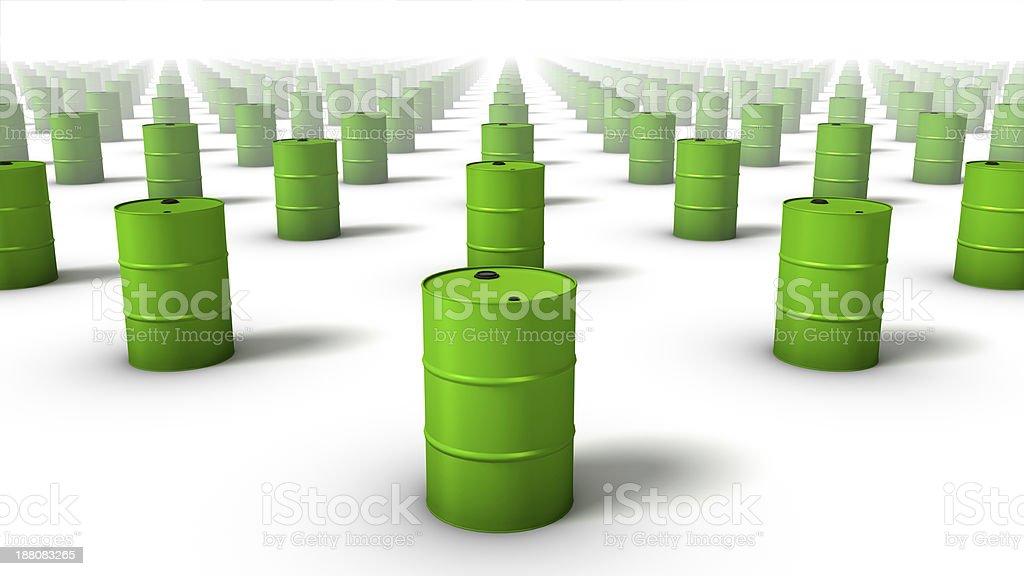 Diagonal view of endless Oil Drums stock photo