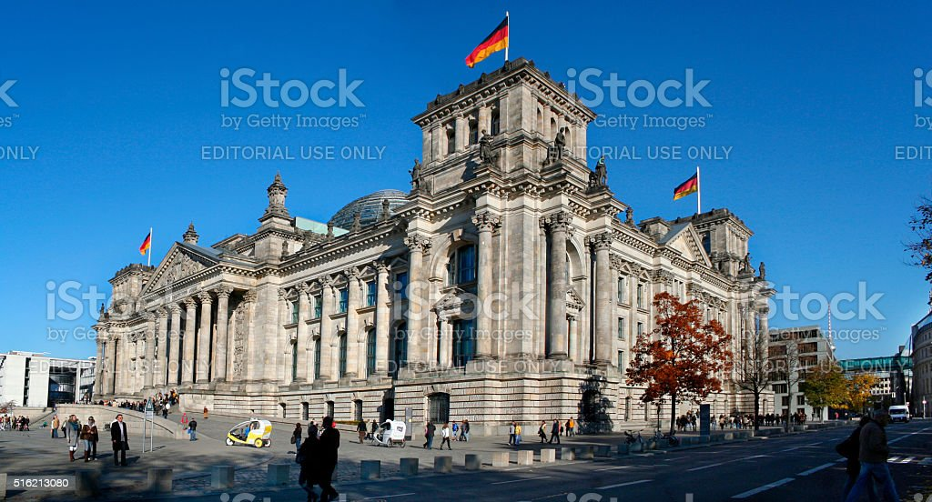 Diagonal view of the Bundestag on a sunny autumn afternoon stock photo
