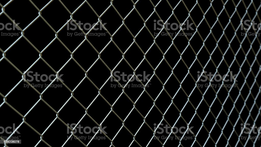 Diagonal Wire Railing Isolated on Black stock photo